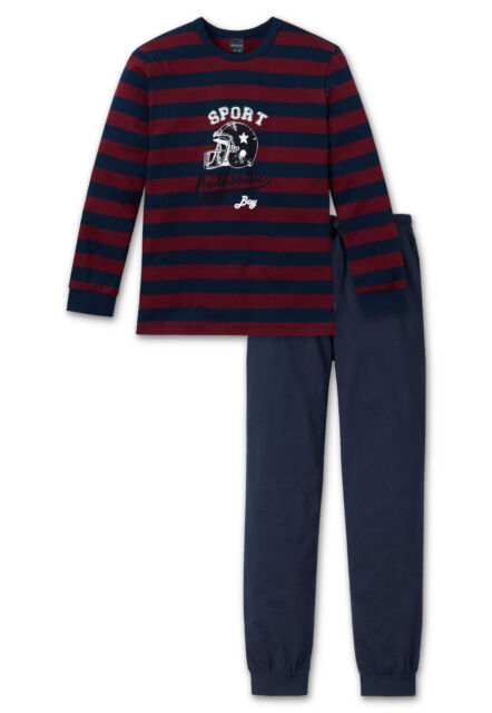 f39bfd42c8e0e0 Schiesser Boys Pyjamas Lang Sports Size 140 152 164 176 Nightwear 502  Bourdeaux / Night Blue 148787 D 152 Int. 10-11y | eBay