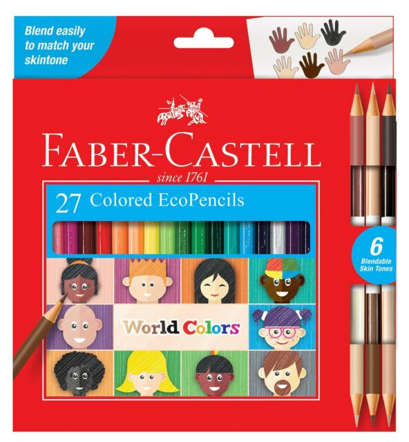Faber-Castell World Colors Ecopencils, 27 Count - Diverse Skin Tone Colored P...
