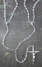 Wedding lasso lazo rosary beads iridescent bicone glass large double rosary
