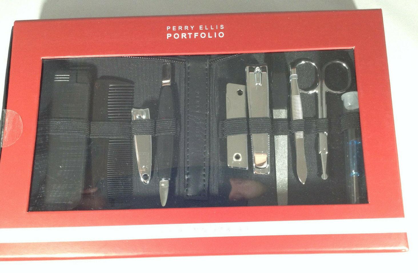 New Perry Ellis Portfolio 10 piece Grooming Set & Case
