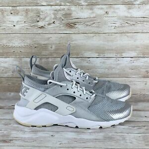 Nike-Air-Huarache-Run-Youth-Size-5Y-Silver-White-Ultra-GS-Athletic-Running-Shoes