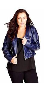 City-Chic-leather-look-Jacket-vinyl-gold-zip-navy-blue-size-14-16-CC-XS-BNWT