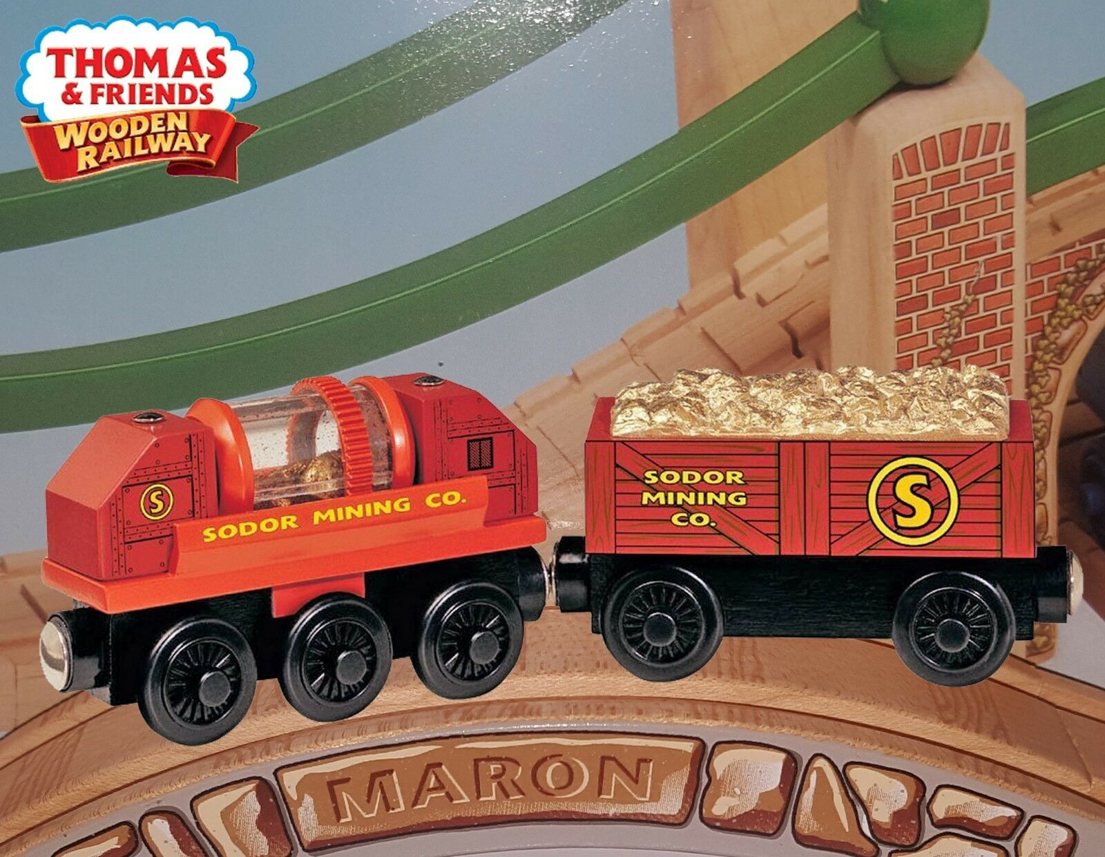 THOMAS & FRIENDS WOODEN RAILWAY  gold PROSPECTOR CARS  2006 ABSOLUTELY  MINT