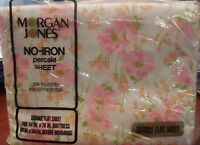 "NEW! vtg Retro FULL FLAT Sheet Moran Jones ""Princess"" Pink Floral fabric 70s"