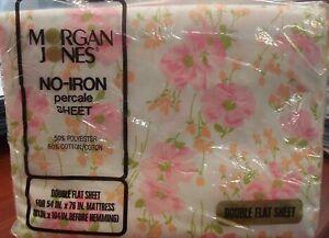 NEW-vtg-Retro-FULL-FLAT-Sheet-Moran-Jones-Princess-Pink-Floral-fabric-70s