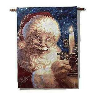 Winter Lane Santa Claus w/Candle Christmas Tapestry Wall Hanging