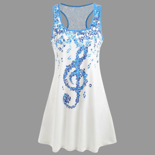 Women/'s Ladies Musical O Neck T-Shirt Sleeveless Casual Blouse Vest Tank Loose
