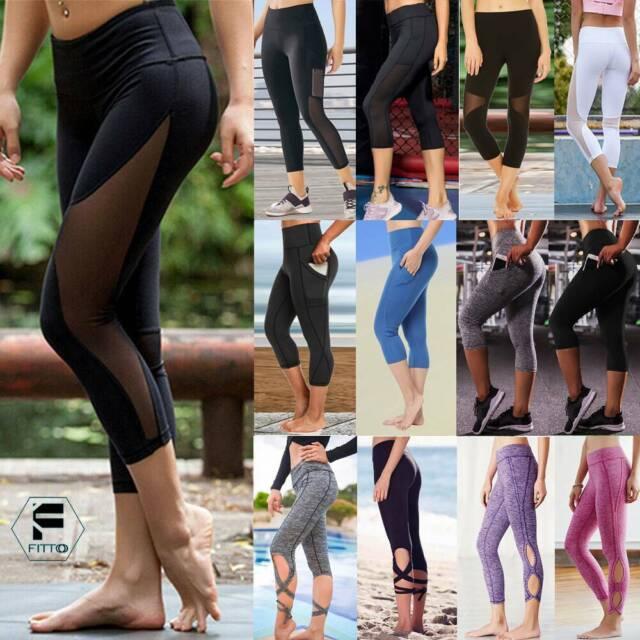 Capri Leggings Yoga Pants Mesh Women Pocket High Waisted Workout 34 Below Knee