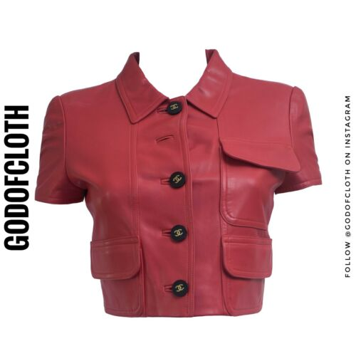 Chanel Red Leather Crop Jacket From 1995