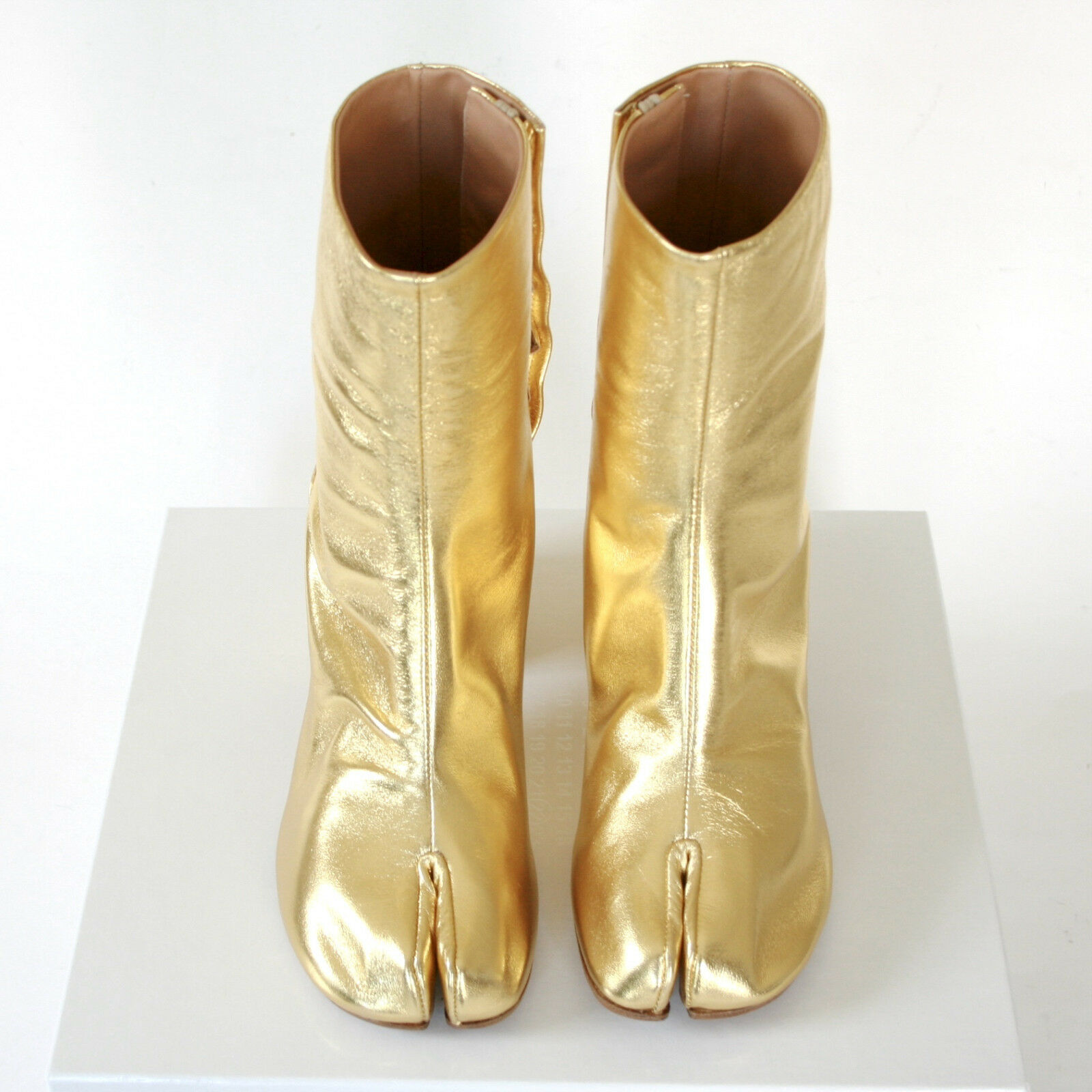 MAISON MARTIN MARGIELA tabi split split split toe gold leather high heel boots 38.5 NEW b8e9e8