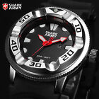 Men's Red Dial SHARK ARMY Silver Steel Military Silicone Sport Quartz Watch