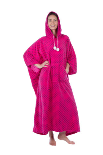 Winter Cover Up Ladies Full Length Fleece Hooded Poncho
