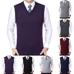 Mens-Slim-Fit-Knitted-Sleeveless-V-Neck-Sweater-Vest-Tank-Tops-Plain-Pullover-QU