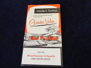 Details about Weyerhaeuser 4-Square Modern Homes Catalog 1956 House Floor  Plan Building Q499