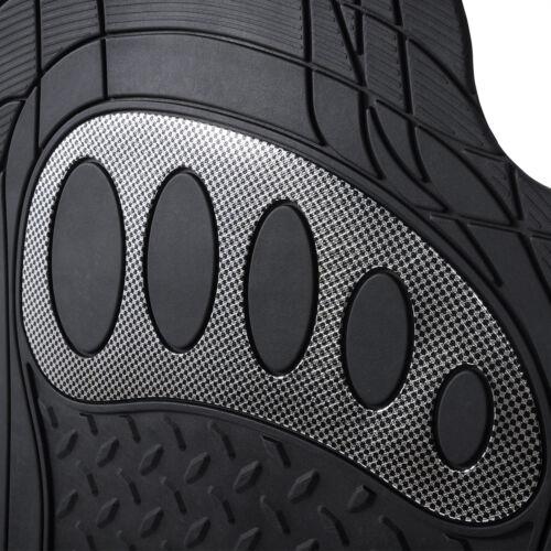 Universal Auto Fußmatten Gummi Matte Riffelblech 4-teilig Silber AM7176sb