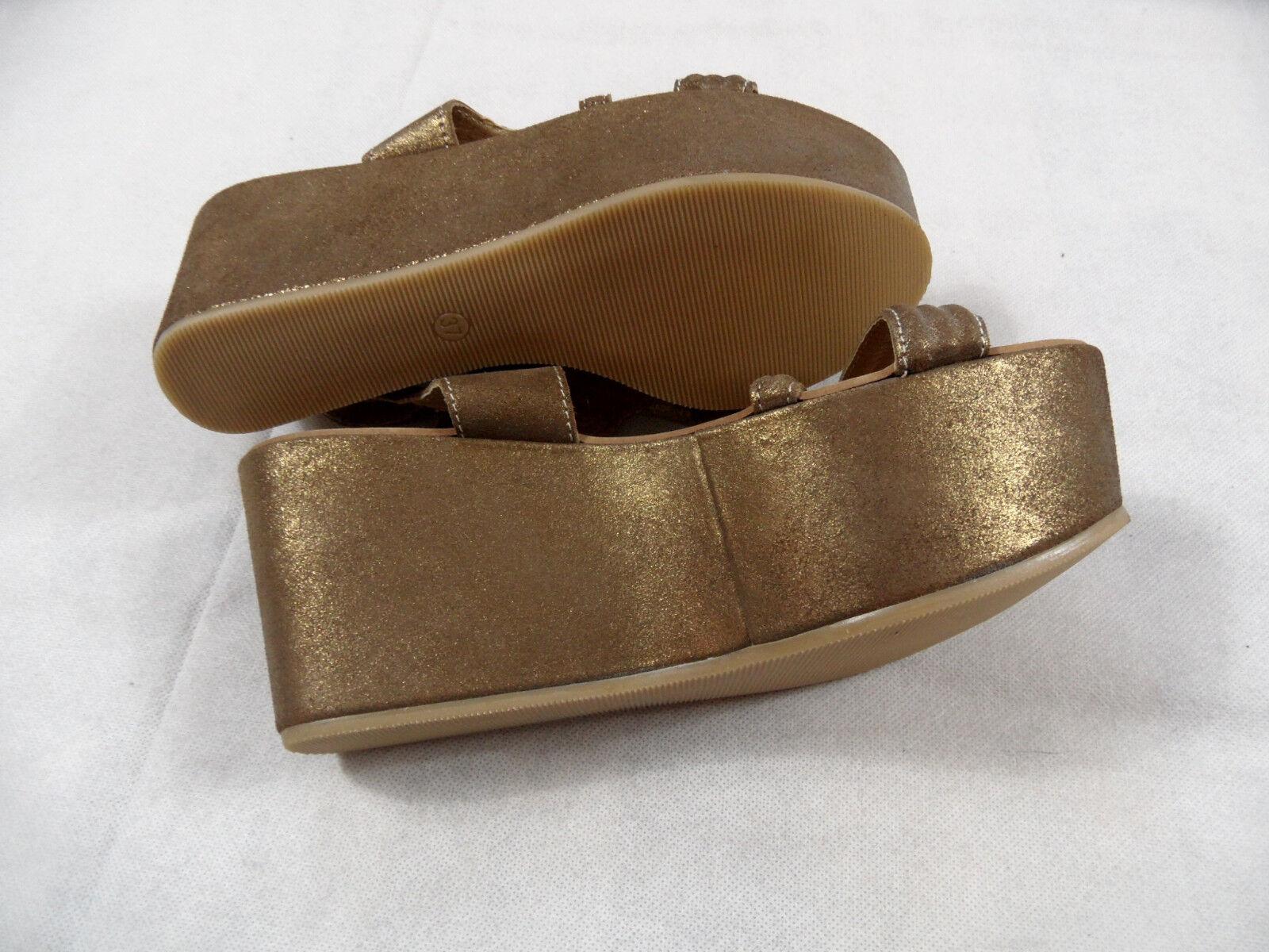FABBRICA MORICHETTI stylische Plateau Sandalen gold Gr. 37 NEU BB718