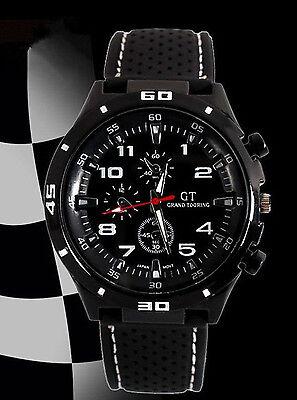 New Black Fashion Stainless Steel Luxury Sport Analog Quartz Mens Wrist Watch