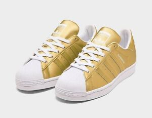 Adidas Womens 8 Superstar Metallic Casual Shoes Gold/Gold/White ...