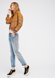NEW Free People Stencil and Destroyed Slim Leg High Rise Jeans Painted 28