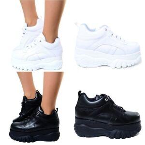 c2aaa4894ec427 Caricamento dell'immagine in corso Sneakers-Donna-Pelle-Platform-Scarpe -Righe-Maxi-Zeppa-