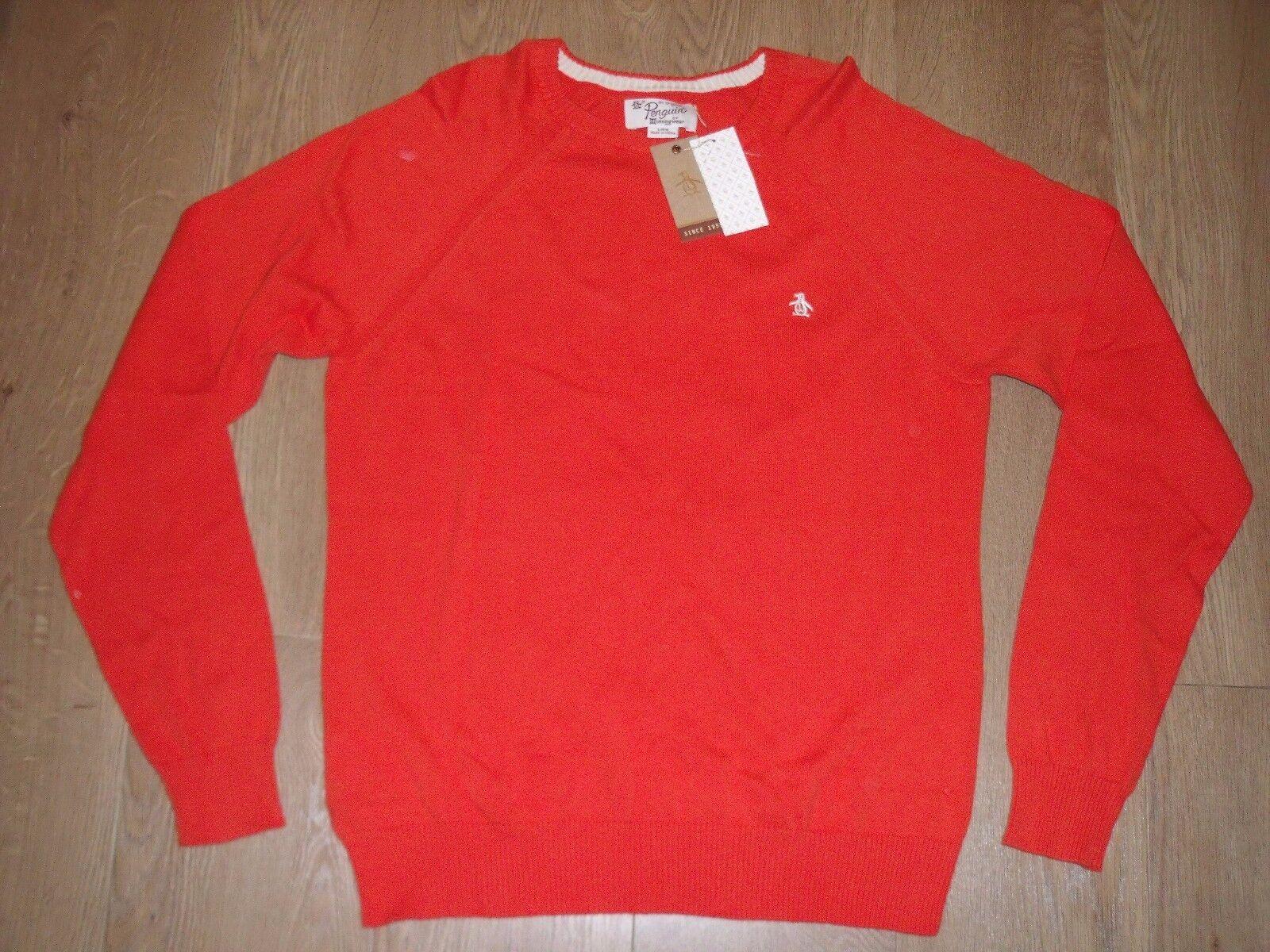 Original Penguin Uomo arancione maglione girocollo a maglie fini Cardigan L
