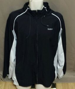 0c1f6fd00d10e2 Image is loading Reebok-Black-amp-White-Lined-Athletic-Jacket-size-