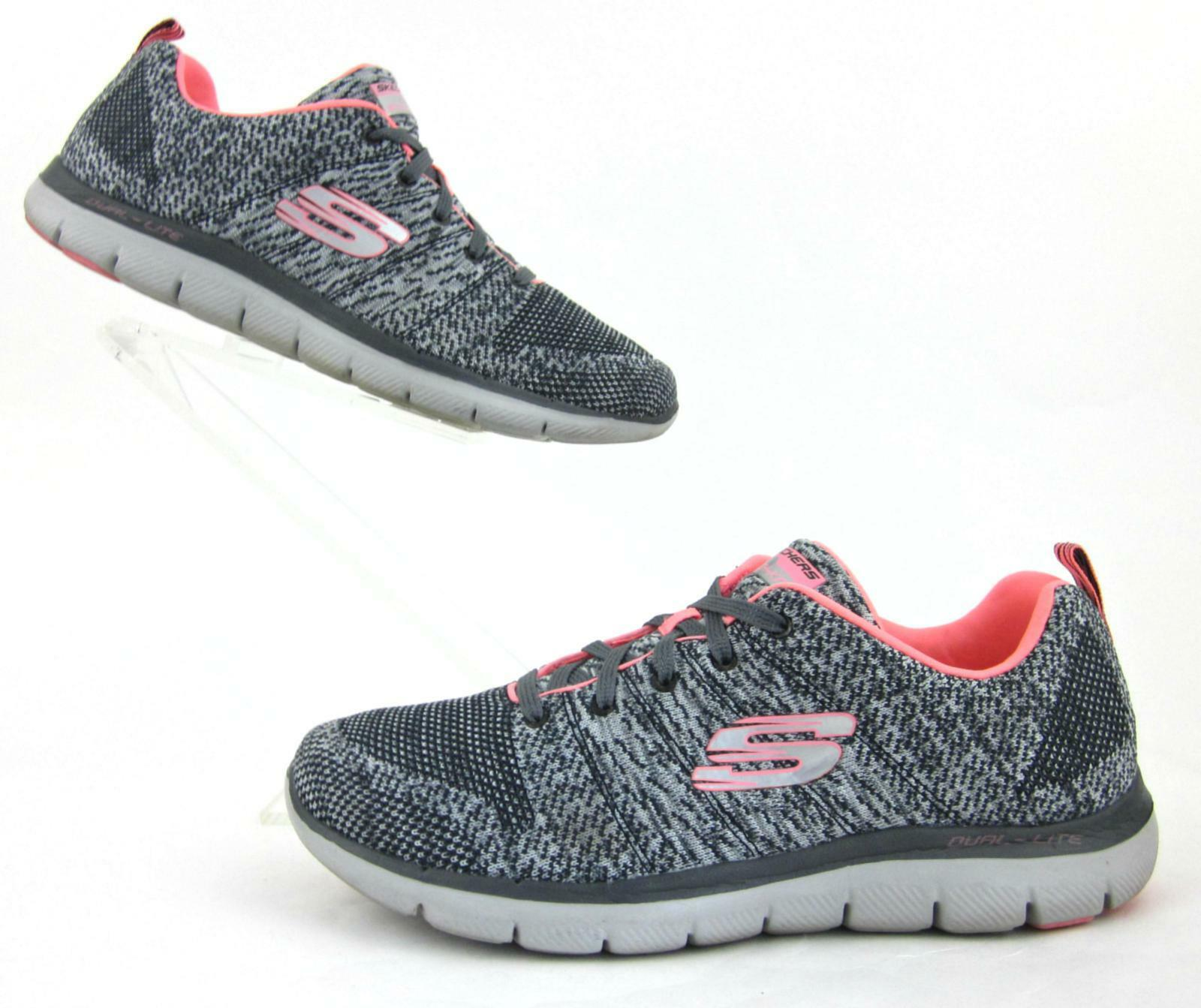 Skechers Flex Appeal 2.0 High Energy Sneakers Flat Knit Charcoal   Coral US 10