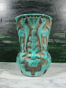 Art deco italian art pottery hand relief carved deer vase