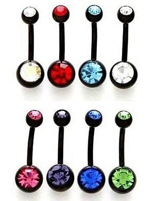 Black Double Gem Belly Bar - Choose: Clear, Pink, AB, Blue, Red, Green, Purple