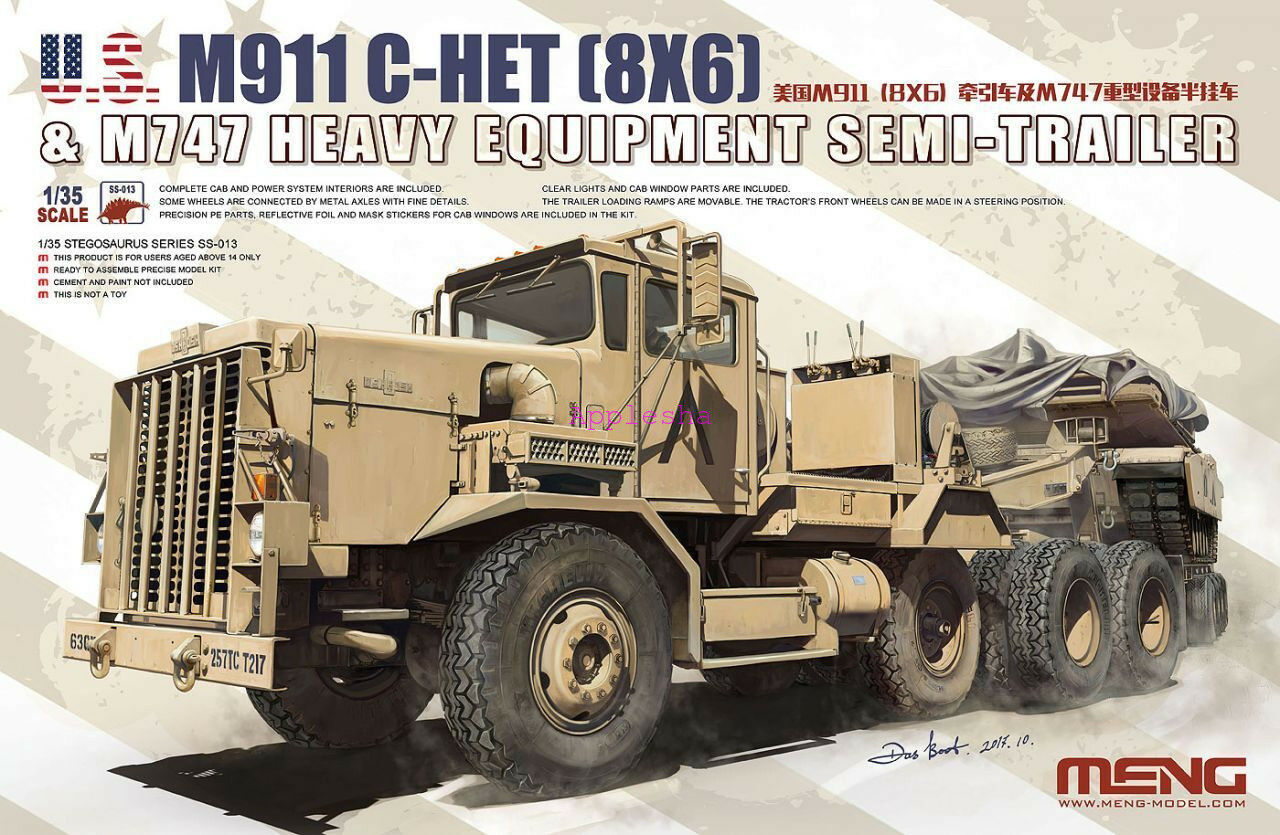 Meng Model 1 35 SS-013 M911 C-HET (8×6) & M747 Heavy Equipment Semi-Trailer