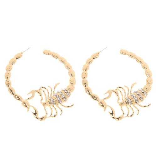 Huggie Scorpion Stripe Crystal Bamboo Hoop Hip Hop Gold Circle Ear Earrings
