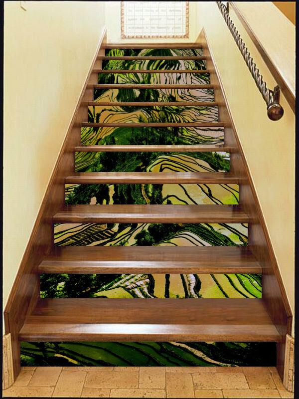 3D Terrassen 131 Stair Risers Dekoration Fototapete Vinyl Aufkleber Tapete DE