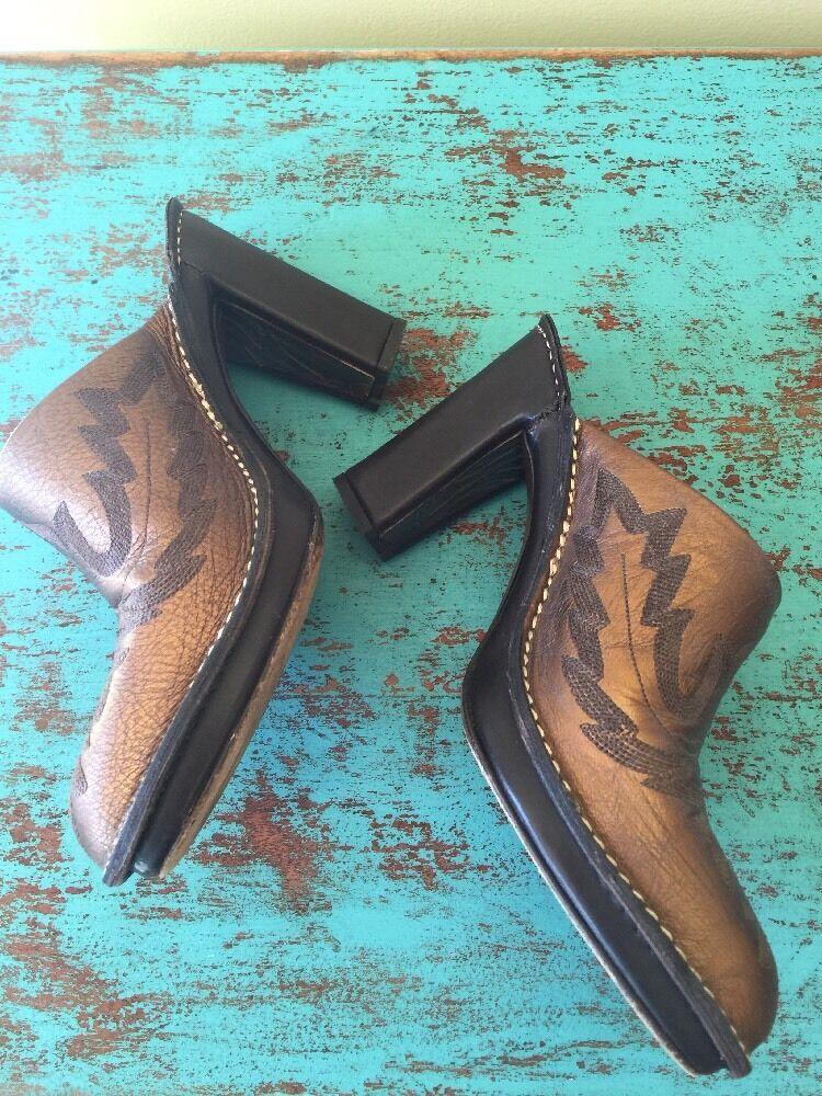 Donald J Pliner Western Cowboy Mules SlipOns Meta… - image 3