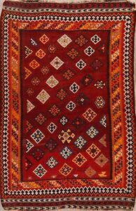 Vintage-Geometric-Reversible-Kilim-Hand-Woven-Wool-Area-Rug-Oriental-Carpet-6x8