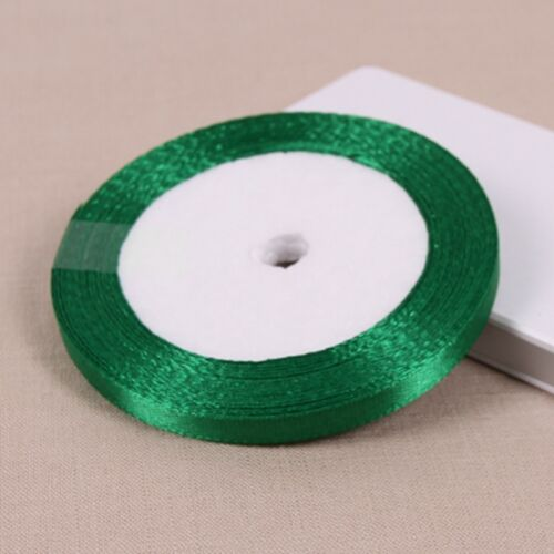 25 Yards Satin Ribbon Wedding Party Decoration Craft Sewing Green Color 6mm-50mm
