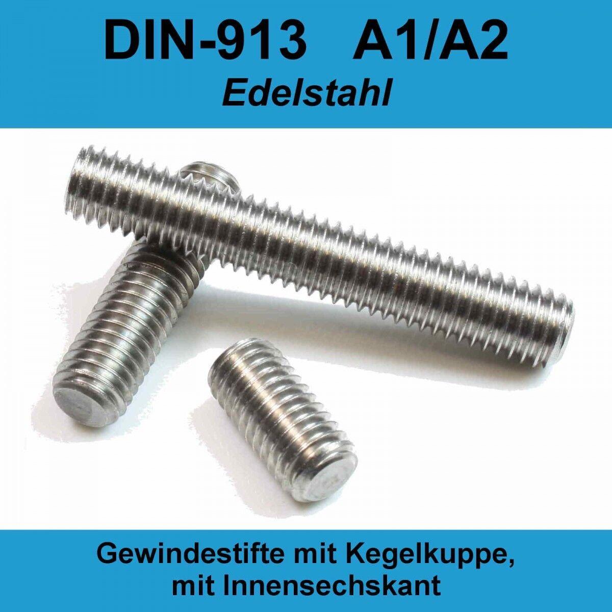 M5 DIN913 A2 Edelstahl Gewindestifte Gewindestifte Gewindestifte Kegelkuppe Innensechskant Madenschraube M5x   Online-Exportgeschäft  6ac13f