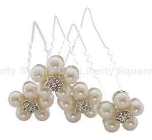 Copieux Bridal Hair Pins / Perle Cristal Pins Cheveux Fleur / Cheveux Fleur Broches X 4pc # 183-afficher Le Titre D'origine En Voyageant