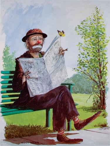 Five VINTAGE Clown Prints RED SKELTON Emmett Kelly W HAROLD HANCOCK Clowns MINT