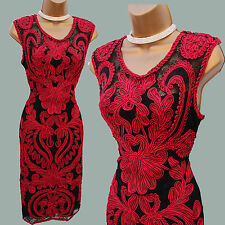 Phase Eight Red Black Delaney Tapework Evening Cocktail Bodycon Dress 10 UK