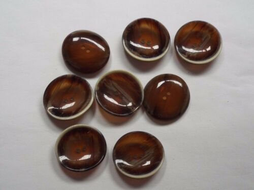 8pc 28mm Opaque Chocolate Brown Wood Effect Coat Cardigan Knitwear Button 4794