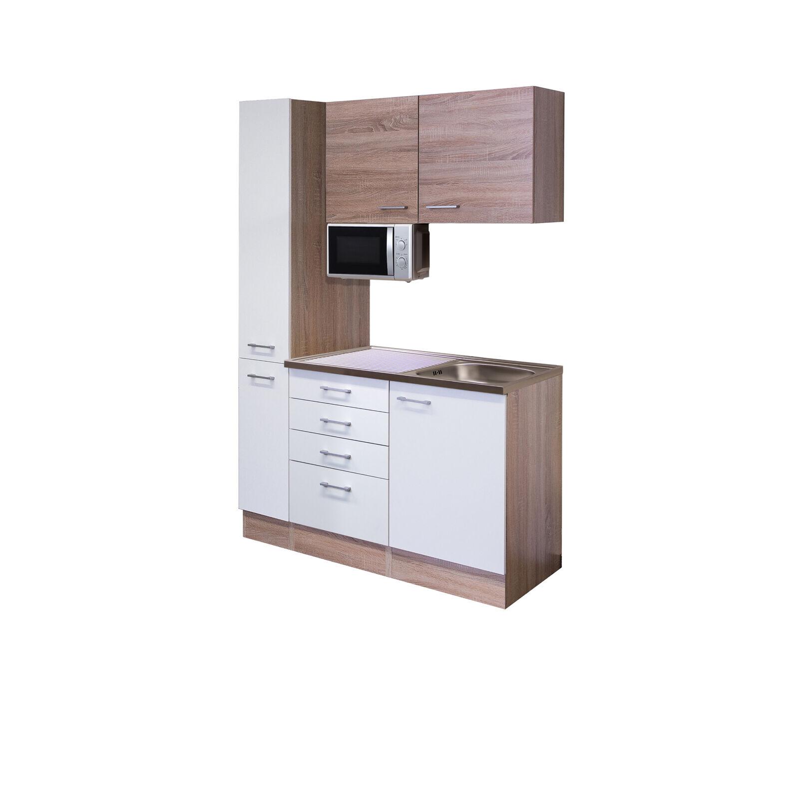 Büroküche Teeküche Miniküche Singleküche mit Spüle Mikrowelle Küche 130 cm weiss