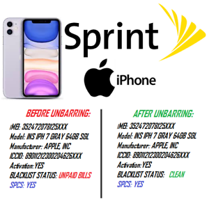 IMEI Status Check  iPhone Clean//Blacklist//Unpaid Bill for SPRINT USA only IMEI