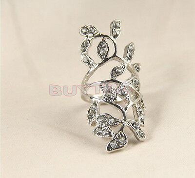 Attractive lady Luxury Plated Crystal Long Branch Leaf Knuckle Wrap Finger