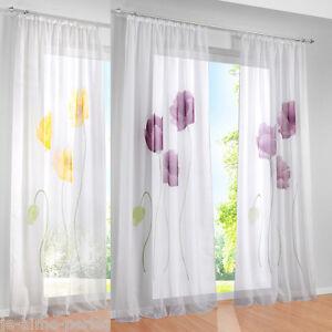 JAP-Rideau-Panneau-Voilage-Ruban-Fenetre-Fleur-Curtain-Maison-Chambre-Decor