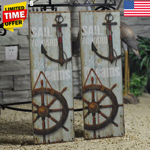 Nautical-Decor-Rustic-Wood-Sign-Plaque-Wall-Home-Shop-Art-Picture-Anchor-Design