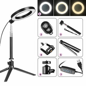 "8"" Dimmable 5500K LED Ring Light Kit with Stand for Makeup Phone Camera Selfie 634383424391"