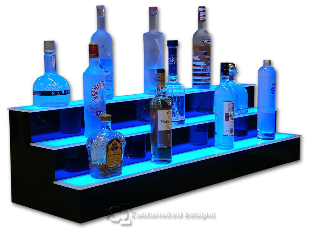 44 Quot 3 Step Tier Led Lighted Shelves Illuminated Liquor