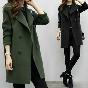 Women-Fashion-Korean-Coat-Jacket-Double-Breasted-Outwear-Slim-Parka-Trench-Loose