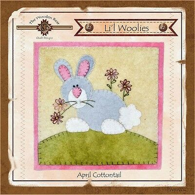 LIL WOOLIES BLOCK OF THE MONTH APRIL COTTONTAIL, The Wooden Bear Designs NEW