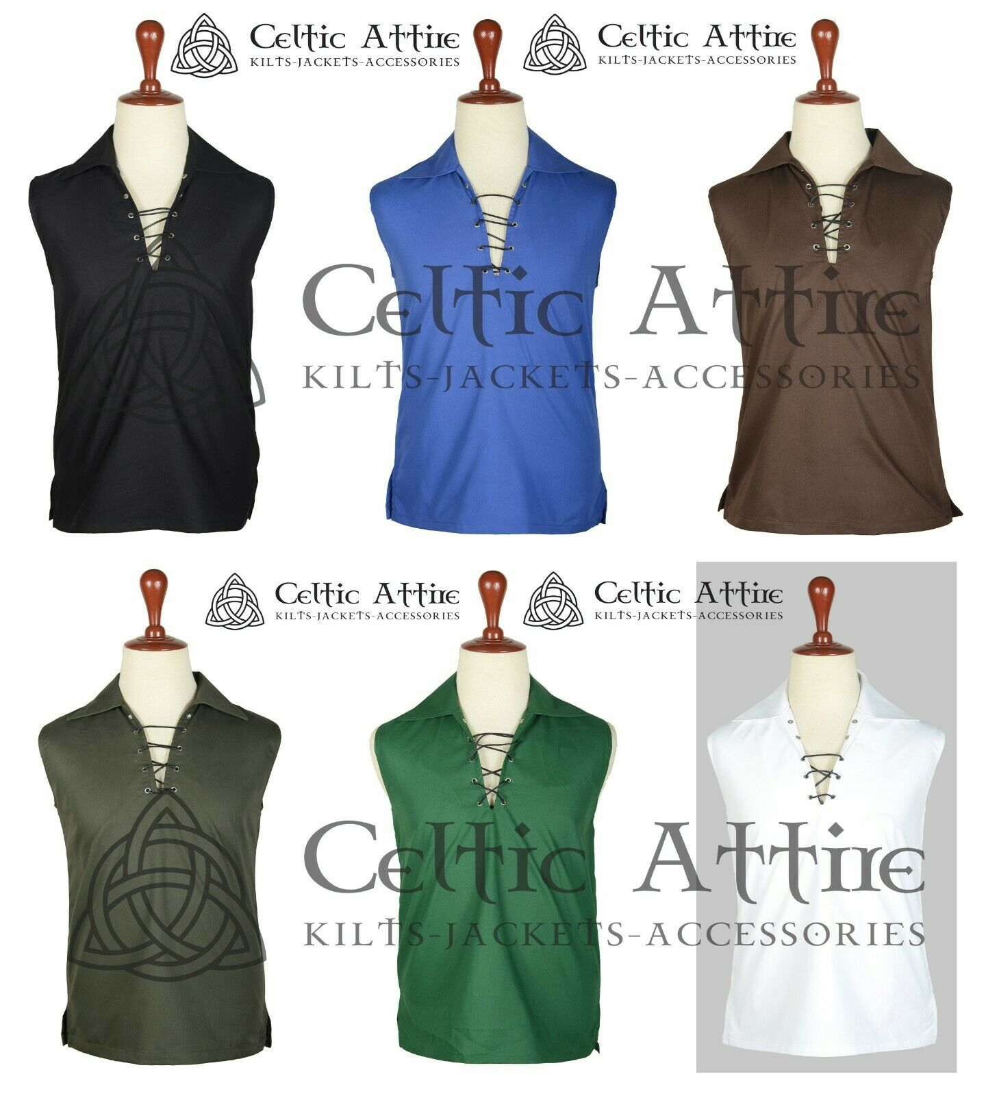 Scottish Ghillie KILT SHIRT Sleeveless Jacobite Jacobean Cotton Shirt